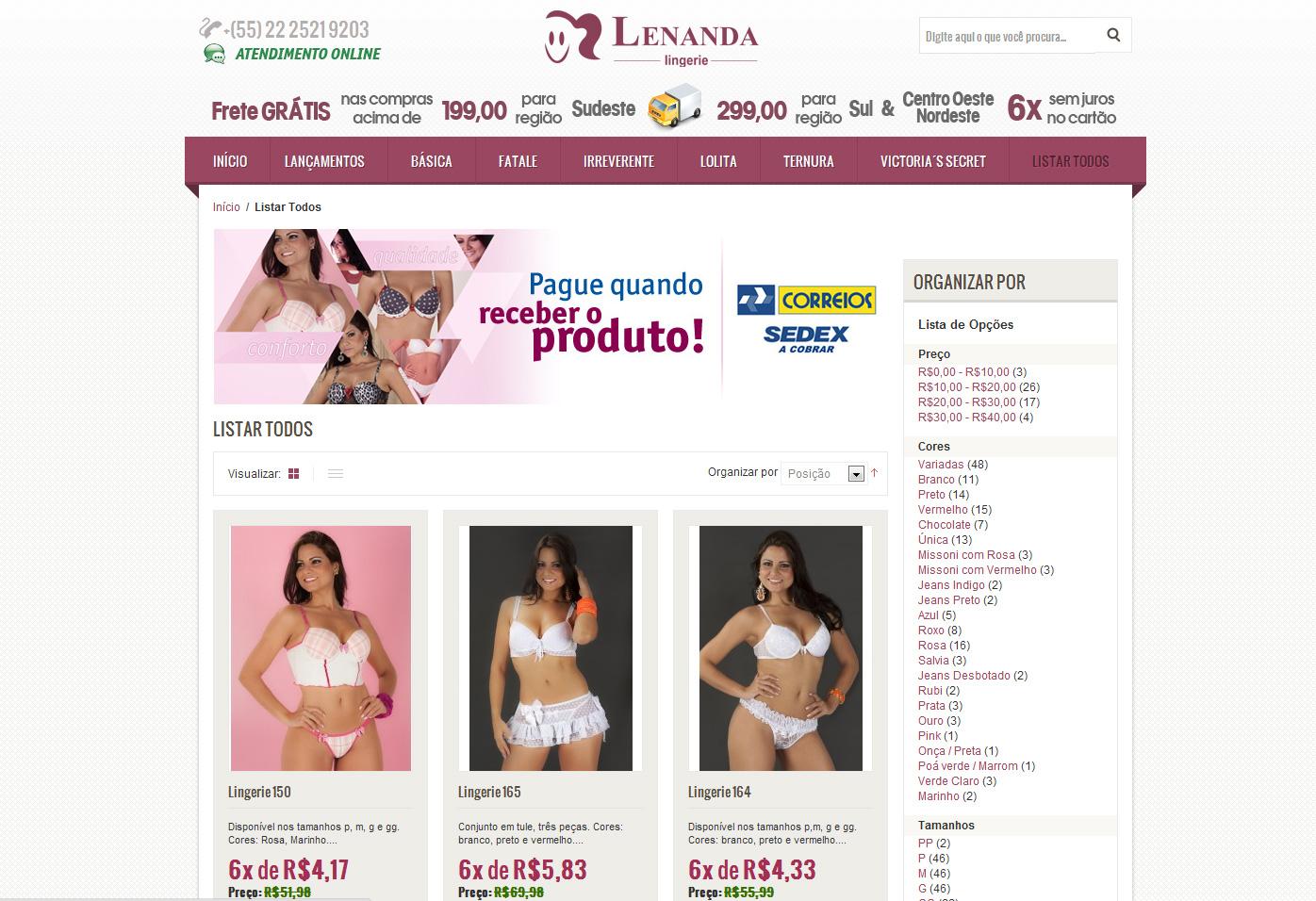 Loja Virtual – Lenanda Lingerie – Nova Friburgo – We Design